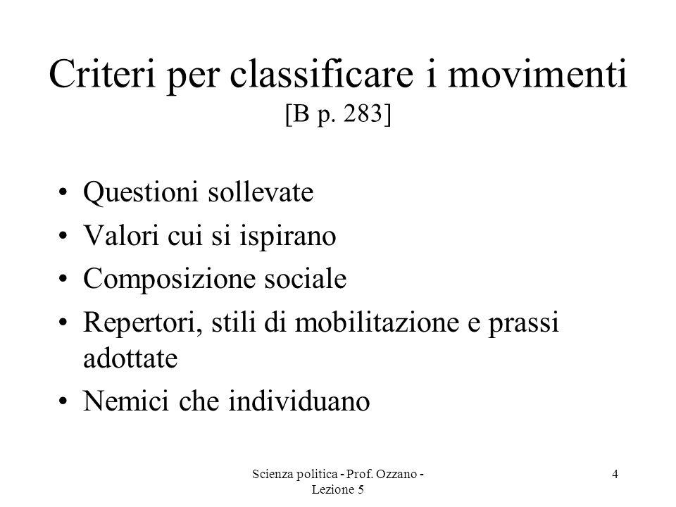 Criteri per classificare i movimenti [B p. 283]
